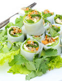 O MACARRONETE tailandês aplica o rolo dos vegetais do estilo. Fotografia de Stock Royalty Free