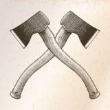 O machado cruzou a ilustração da gravura do desenho da mão no backgr do vintage Fotos de Stock Royalty Free