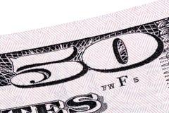 O macro empilhou o tiro com detalhe da nota de dólar cinqüênta, Imagem de Stock Royalty Free