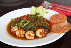 O malaio fritou mexendo o kangkung com tempero belachan, estilo de Penang! Imagens de Stock