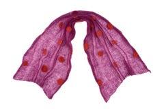 O mande do lenço do roxo feito malha pontilhou a tela de angorá Fotografia de Stock Royalty Free