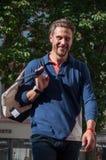 O manequim que anda com desgaste do esporte veste-se no desfile de moda em Mulhouse Imagens de Stock Royalty Free