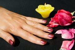 O Manicure com levantou-se foto de stock royalty free