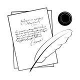 O manuscrito das ilustrações do vetor do poeta ilustração stock