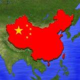o mapa 3D de China pintou nas cores da bandeira chinesa Ilustração da torta estilizado da geleia ilustração stock