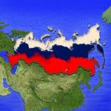 o mapa 3D de Rússia pintou nas cores da bandeira do russo Ilustração da torta estilizado da geleia ilustração do vetor