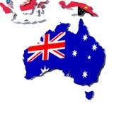 o mapa da bandeira 3D de Austrália rendeu a imagem no branco Fotografia de Stock Royalty Free