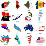 O mapa da bandeira do mundo esboç a coleção 01 Foto de Stock Royalty Free