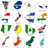 O mapa da bandeira do mundo esboç a coleção 09 Imagem de Stock