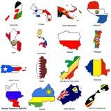 O mapa da bandeira do mundo esboç a coleção 10 Imagem de Stock Royalty Free