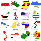 O mapa da bandeira do mundo esboç a coleção 13 Imagem de Stock