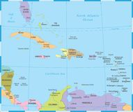 O mapa das caraíbas - ilustração do vetor ilustração royalty free