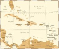 O mapa das caraíbas - ilustração do vetor do vintage ilustração royalty free