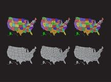 O mapa de Estados Unidos, EUA dividiu mapas com projeto da ilustração dos nomes ilustração do vetor