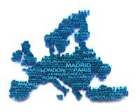 O mapa de Europa formou por nomes de cidades principais Fotografia de Stock