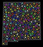 2.o mapa de la malla del estado de New M?xico con los puntos ligeros brillantes stock de ilustración