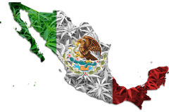 O mapa de México, cannabis sae do fundo Fotos de Stock Royalty Free