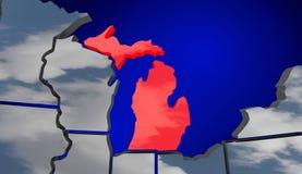 O mapa de Michigan MI nubla-se o tempo Forecas de América do Estados Unidos dos EUA Fotografia de Stock Royalty Free