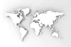 O mapa de mundo, 3D rende Imagens de Stock Royalty Free