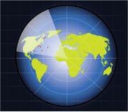 O mapa de mundo em um ecrã de radar Foto de Stock
