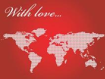 O mapa de mundo encheu-se com os corações fotos de stock
