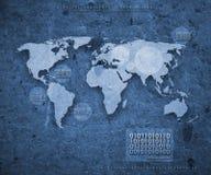 O mapa de mundo futurista no azul Fotografia de Stock Royalty Free