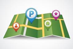 O mapa de papel dobrado com dois ponteiros ajustou-se na rota Lugar de GPS ilustração royalty free