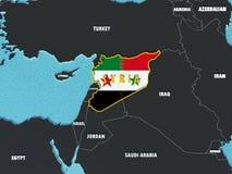 O mapa de Síria dividiu-se com as bandeiras do governo e do rebelde com países circunvizinhos - 3D rendem Foto de Stock Royalty Free