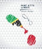 O mapa de Saint Kitts e Nevis com a pena tirada mão do esboço traça para dentro Ilustração do vetor ilustração stock