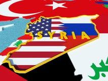 O mapa de Síria dividiu-se com EUA e bandeiras de Rússia com países circunvizinhos - 3D rendem Imagem de Stock Royalty Free