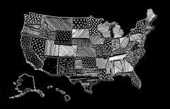 O mapa de tiragem do Estados Unidos da América risca EUA ilustração stock