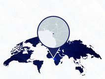O mapa detalhado da Guin? Equatorial destacou no mapa do mundo arredondado azul fotografia de stock royalty free