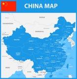 O mapa detalhado de China com regiões ou estados e cidades, capitais Foto de Stock Royalty Free