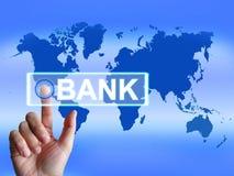 O mapa do banco indica em linha e Internet banking Imagens de Stock