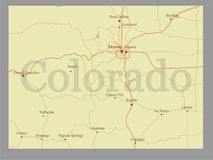 O mapa do estado do vetor de Colorado com auxílio de comunidade e ativa ilustração royalty free