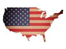 O mapa do Grunge de Estados Unidos da América isolou-se Imagens de Stock