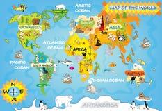 O mapa do mundo da criança Foto de Stock Royalty Free