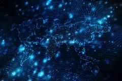 O mapa do mundo e o blockchain espreitam para espreitar rede, conceito da rede global Fotografia de Stock Royalty Free