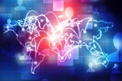O mapa do mundo e o blockchain espreitam para espreitar rede, conceito da rede global ilustração royalty free