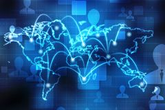 O mapa do mundo e o blockchain espreitam para espreitar rede, conceito da rede global Imagens de Stock Royalty Free
