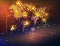 O mapa do mundo e os ícones dos povos uniram-se em um global Fotografia de Stock Royalty Free