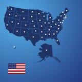 O mapa dos E.U. stars o vetor ilustração do vetor