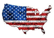 O mapa dos EUA, cannabis sae do fundo Imagens de Stock