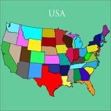 O mapa dos EUA em um fundo verde Fotos de Stock