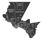 O mapa EUA da cidade de El Paso Texas etiquetou a ilustração preta Imagem de Stock