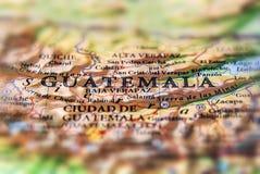O mapa geográfico da Guatemala do país de Ámérica do Sul fecha-se Fotos de Stock