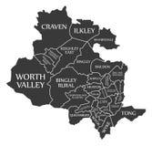 O mapa Inglaterra Reino Unido da cidade de Bradford etiquetou a ilustração preta Imagens de Stock Royalty Free