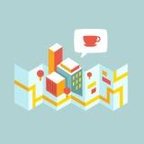 O mapa moderno da cidade pensa sobre o café Ilustração Royalty Free
