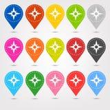 O mapeamento de lugar costurado colorido fixa grupos do ícone Ilustração Stock