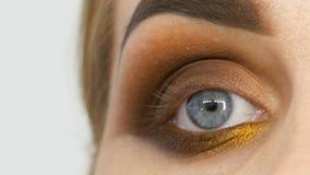 O maquilhador mestre profissional aplica a sombra bege com a escova especial no olho modelo no fim do salão de beleza acima da vi vídeos de arquivo